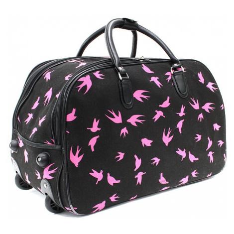 Černá velká cestovní látková taška se vzorem Madoline Mahel