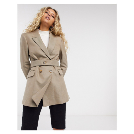 Selected Femme blazer with double breast in beige-Grey