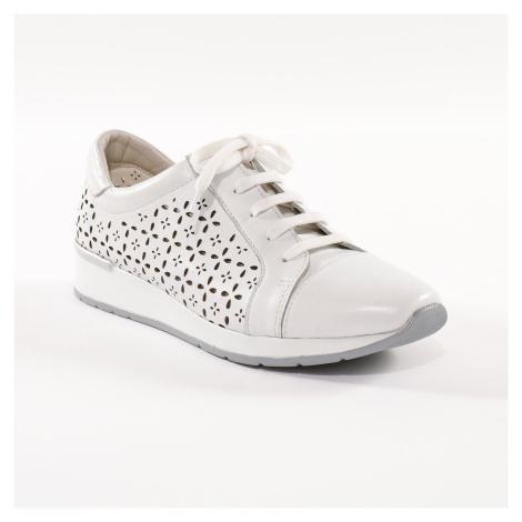 Blancheporte Kožené tenisky s ažurou, bílé bílá