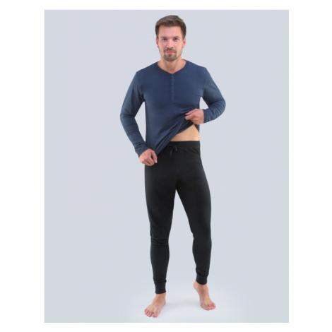 GINA Pánské pyžamo dlouhé 79087-DCMMxC lékořice - černá