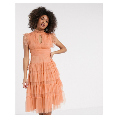 Anaya With Love tulle layered frill midi dress in soft coral-Orange