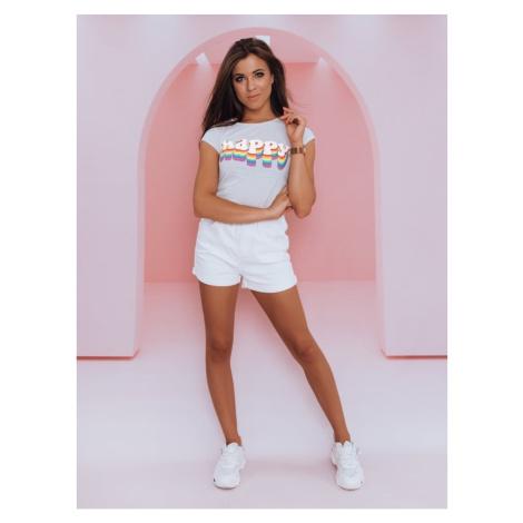 HAPPY women's T-shirt, light gray Dstreet RY1849