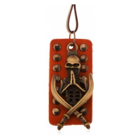 Nastavitelný kožený náhrdelník - patinovaná kostra s meči, okovaný pás kůže Šperky eshop