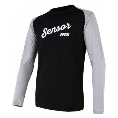 Pánské tričko SENSOR Merino Active PT Logo dl. rukáv černá/šedá