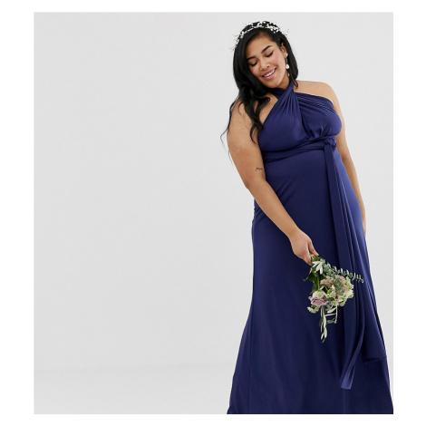 TFNC Plus bridesmaid exclusive multiway maxi dress in navy