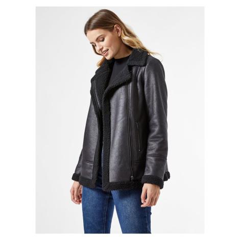 Černá zimní bunda s umělým kožíškem Dorothy Perkins