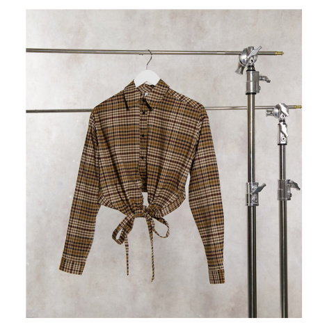 COLLUSION wrap shirt in brown check co-ord