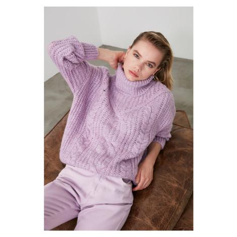 Trendyol Lila Hair Braided Knitwear Sweater