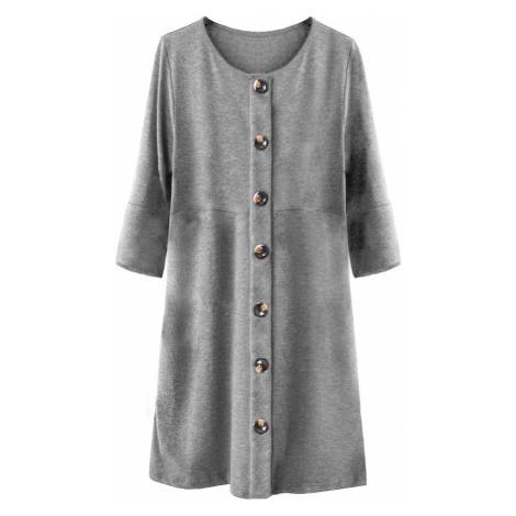 Šedé dámské šaty s knoflíky a nadýchanými rukávy (233ART) Made in Italy