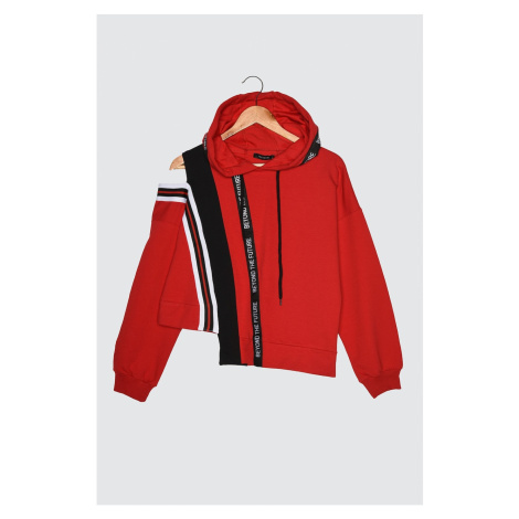 Trendyol Red Cut Out Detailed Hooded Knitted Sweatshirt