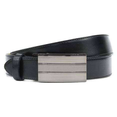 Černý prošívaný kožený pánský opasek s automatickou sponou Deon
