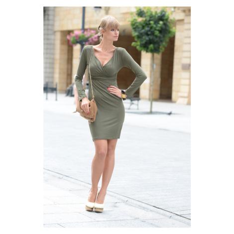 Šaty s dlouhým rukávem a véčkovým dekoltem barva khaki