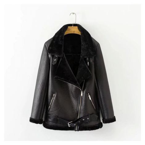 Luxusní dámská zimní kožená bunda s kožíškem a řemínkem