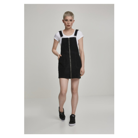 Ladies Corduroy Dungaree Dress - black Urban Classics