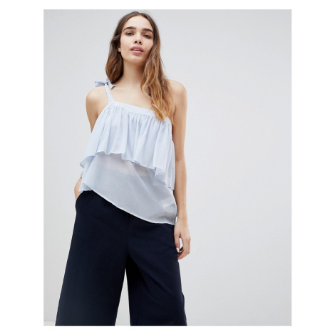 Monki Ruffle One Shoulder Top-Blue