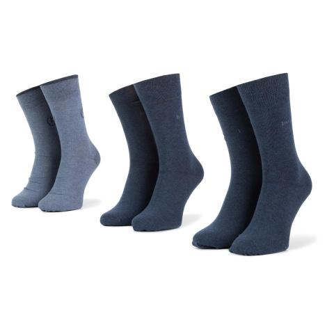 Sada 3 párů pánských vysokých ponožek BUGATTI - 6762X Light Denim 434
