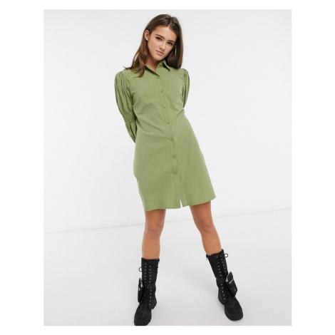 Lola May smock shirt dress in khaki-Green