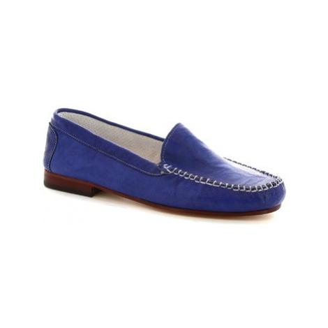 Leonardo Shoes 318 STROPICCIATO COBALTO FONDO CUOIO Modrá