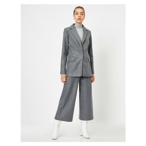 Koton Women's Gray Straight Wide Leg Crop Trousers