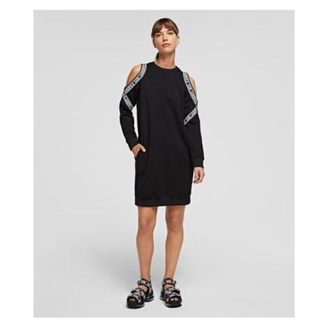 Šaty Karl Lagerfeld Cold Shoulder Sweat Dress - Černá