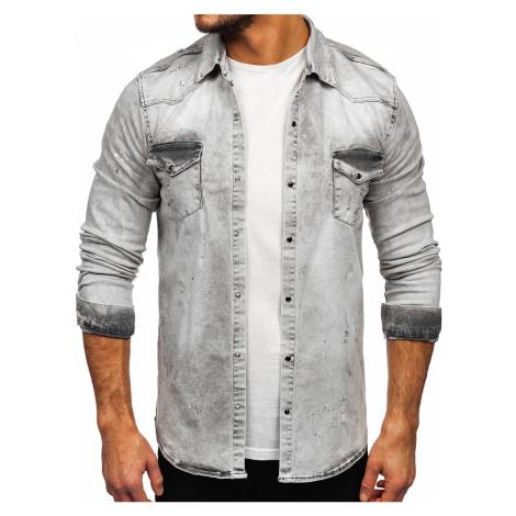 Šedá pánská džínová košile s dlouhým rukávem Bolf R805 RWX
