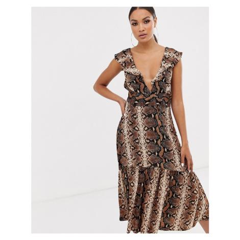 River Island midi dress in snake print-Multi