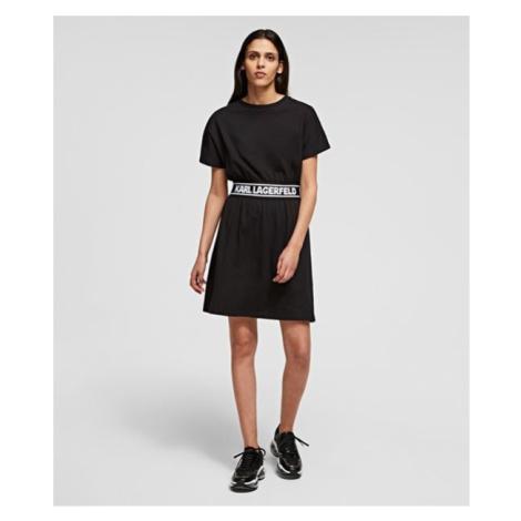 Šaty Karl Lagerfeld Logo Tape T-Shirt Dress - Černá