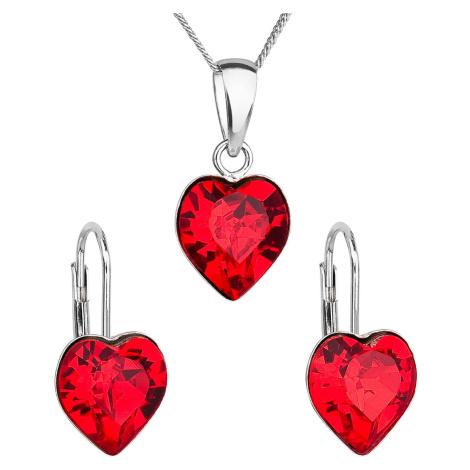 Evolution Group Sada šperků s krystaly Swarovski náušnice, řetízek a přívěsek červené srdce 3914