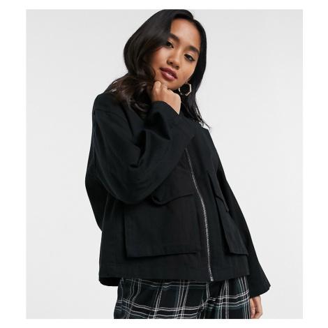 ASOS DESIGN Petite cotton pocket shacket in black