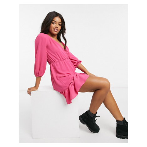 ASOS DESIGN wrap front frill hem mini tea dress with puff sleeves in pink