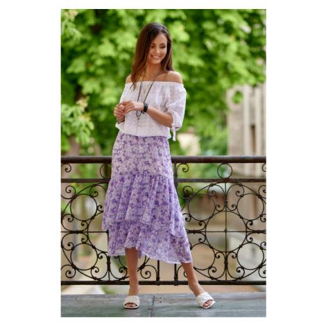 Rozšířená midi sukně s módními volánky a gumičkou v pase Roco Fashion