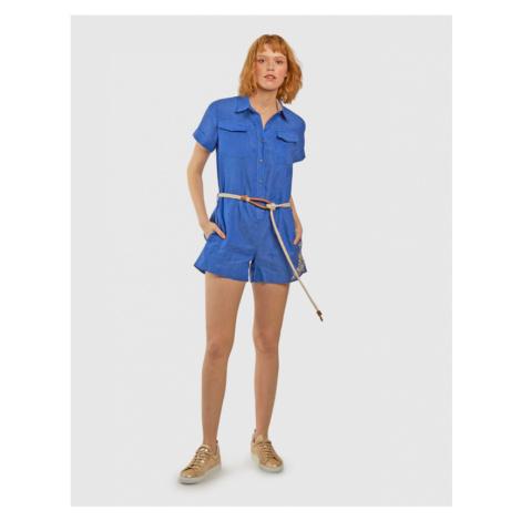 Šaty La Martina Woman Linen Suit S/S - Modrá