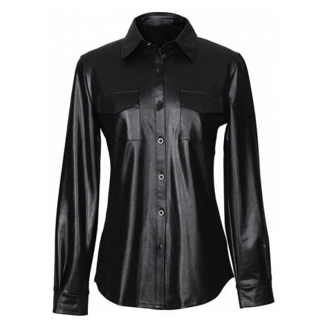 Dámská kožená košile s dlouhým rukávem FashionEU