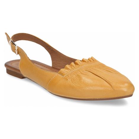 Hořčicově žluté dámské kožené sandály s uzavřenou špičkou Baťa
