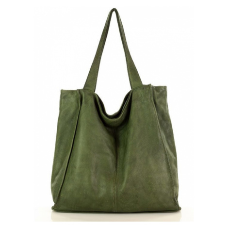 Kožená kabelka přes rameno Mazzini M102 zelená Marco Mazzini handmade