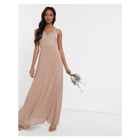 TFNC Bridesmaid scalloped lace top dress in mink-Brown