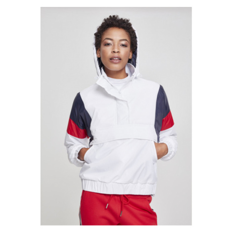 Urban Classics Ladies 3-Tone Padded Pull Over Jacket white/navy/fire red