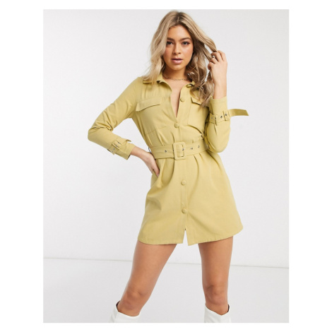 Missguided belted denim dress in mustard-Yellow