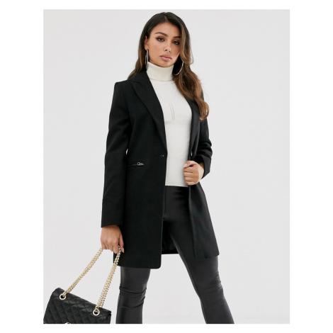 ASOS DESIGN boyfriend coat with zip pockets in black