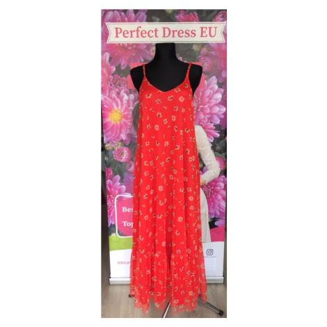 Červené maxi šaty na špagetová ramínka s potiskem květů