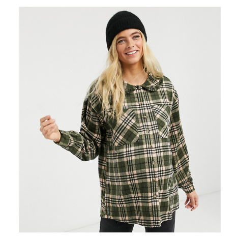 Pieces Maternity oversized shirt with prairie collar in dark green check-Multi