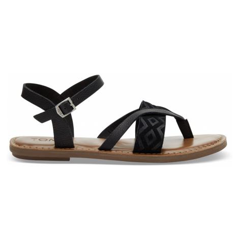 Black Leather Emboss Women Lexie Sand Toms