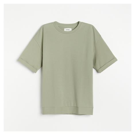 Reserved - Bavlněné tričko OVERSIZED - Zelená