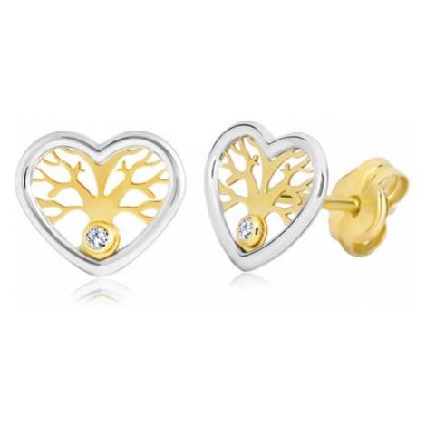 Náušnice ze zlata 585 - dvoubarevné srdce se stromem života a zirkonem Šperky eshop