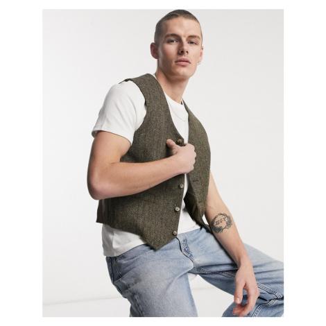 ASOS DESIGN slim harris tweed waistcoat in tobacco-Brown