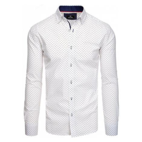 Dstreet Bílá košile se zajímavým vzorem
