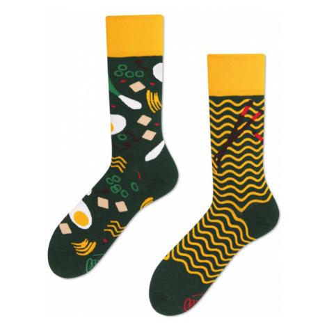 Žluto-zelené ponožky Ramen Noodles Many Mornings