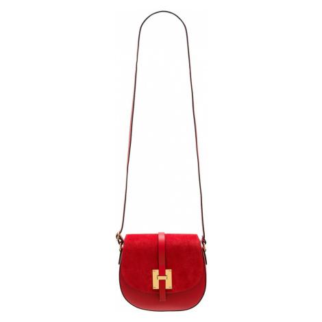 Dámská kožená crossbody kabelka kombinace semiš - červená Glamorous