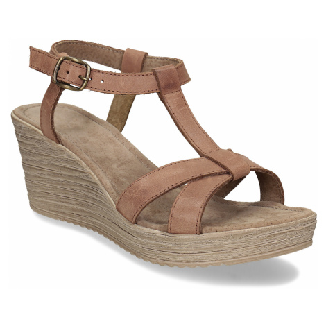 Hnědé kožené sandály na přírodní platformě Baťa