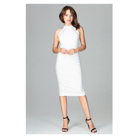 Elegantní černé šaty bílé s průhlednými proužky a obojkem